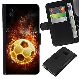 HTC One M9 , la tarjeta de Crédito Slots PU Funda de cuero Monedero caso cubierta de piel ( Football Fire Hot Game Universe Flames)