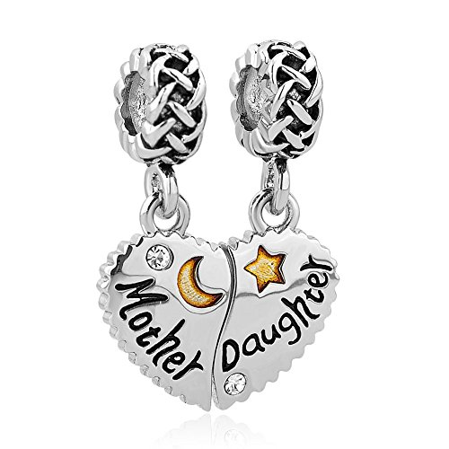 LilyJewelry Mom Mother Daughter Son Love Heart Charm Beads for Snake Chain Bracelet (Mother Daughter 2)
