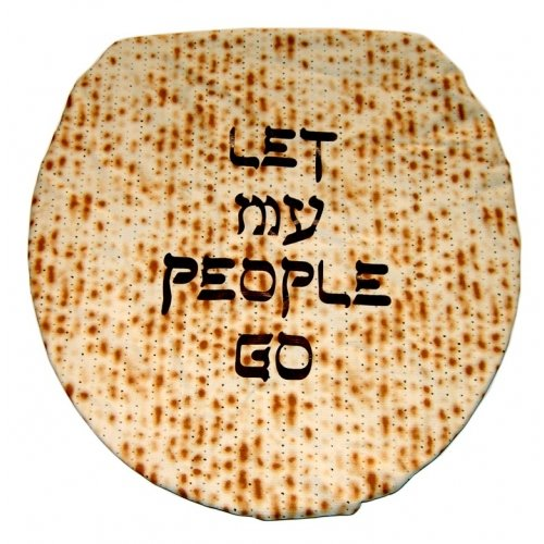 Let My People Go - Jewish Matzoh Cloth Toilet Lid Cover black letters - For Passover Jewish Cloths