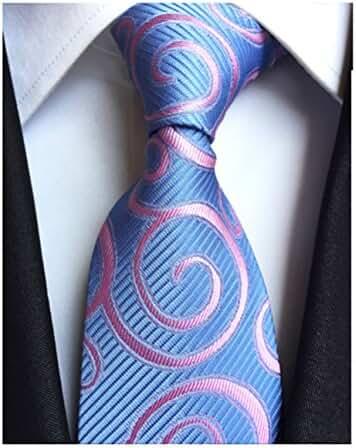 MENDENG New Classic Paisley Pink Blue Jacquard Woven 100% Silk Men's Tie Necktie