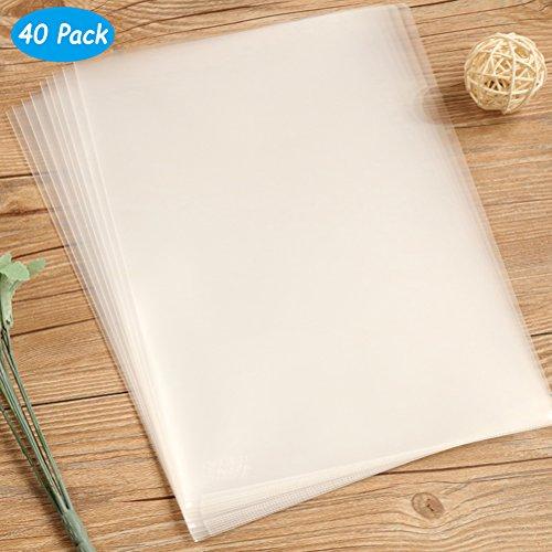 Yarachel 40PCS L-Type Plastic Folder - 18C Transparent Clear Document Folder for A4 Size Paper Sleeves ()