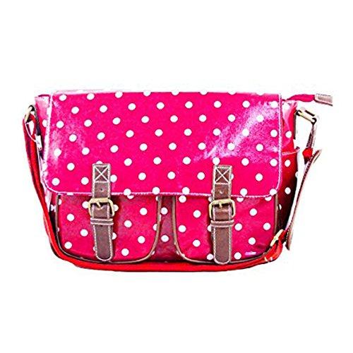 School Designers Dots Bag Plum Handbag Satchel Messenger Polka Body Bag Saddle Ladies Cross Oilcloth pUxHdUw0q
