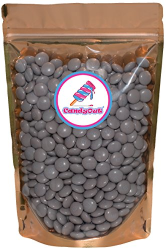 Silver m&m Grey m&m 2lb (2 pound - 32oz ) Milk Chocolate in sealed stand-up pouch bag