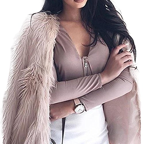 Price comparison product image Women Jacket, Gillberry New Ladies Womens Solid Warm Faux Fur Coat Jacket Winter Parka Outerwear (XL=Asian Size XXL, Pink)