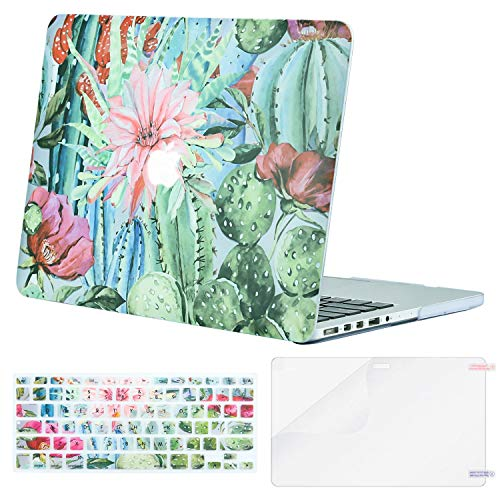 MOSISO Case Only Compatible Older Version MacBook Pro Retina 13 Inch (Model: A1502 & A1425)(Release 2015 - end 2012), Plastic Pattern Hard Shell & Keyboard Cover & Screen Protector, Cactus Flower