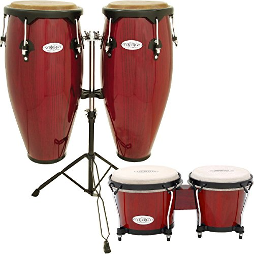 Toca Synergy Conga Set with Stand and Bongos Red (Red)