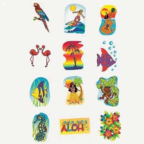Tropical Glitter Temporary Tattoos Summer Luau Party Favors (6 - Tattoo Party Glitter