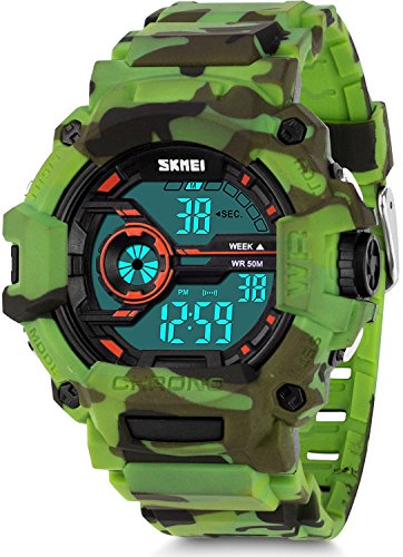 Boys Camouflage Digital Sports Watch, Aposon LED Screen Military Wrist Watch With Waterproof Casual Luminous Stopwatch Alarm Simple Army Watches-Green by Aposon