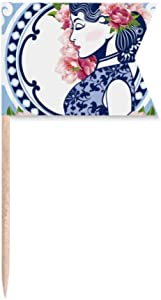 Chinese Culture Flower Woman Toothpick Flags Labeling Marking for Party Cake Food Cheeseplate