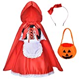 Little Red Riding Hood Dress Halloween Cosplay Costumes for Girls With Cloak - Headband - Bag(2-12Years)