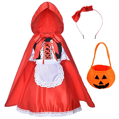 Little Red Riding Hood Dress Halloween Cosplay Costumes for Girls With Cloak,Headband,Bag 3T-4T(100cm)
