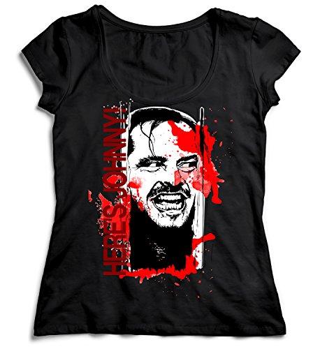 MYMERCHANDISE Here's Johnny Shining Nicholson T-Shirt Black Women 100% Cotton Womens MD Women Shirt