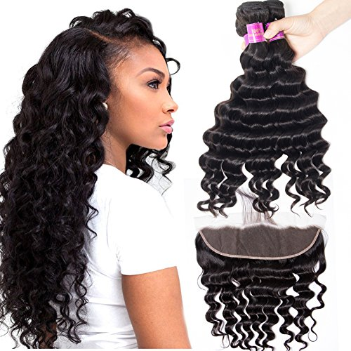 Star Show Hair Loose Deep Wave Bundles with Frontal Closure Malaysian Virgin Hair Bundles with Closure Ear to Ear 20 22 24 with 18 Inch Frontal