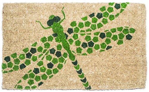 Entryways Dragonfly , Hand-Stenciled, All-Natural Coconut Fiber Coir Doormat 18