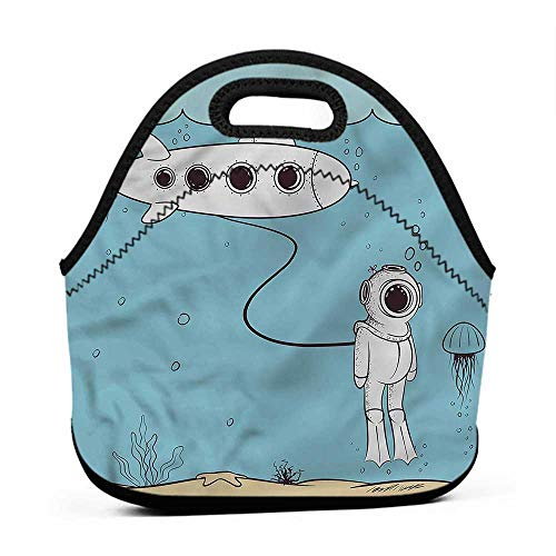 Rugged Lunchbox Nautical,Diver Floats in the Ocean,polo lunch bag and backpack for kids