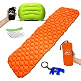 Ultralight Sleeping Pad and Pillow Bundle by ActyKit -Compact Design for Backpacking - Set Includes Inflatable Pad Camping Pillow and Polar Bear Keychain Bottle Opener - Easy to Inflate -Take Anywhere