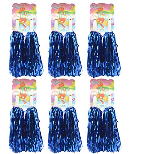 Creatiee 1 Dozen Premium Cheerleading Pom Poms, 12Pcs Hand Flowers Cheerleader Pompoms for Sports Cheers Ball Dance Fancy Dress Night Party (Blue) -
