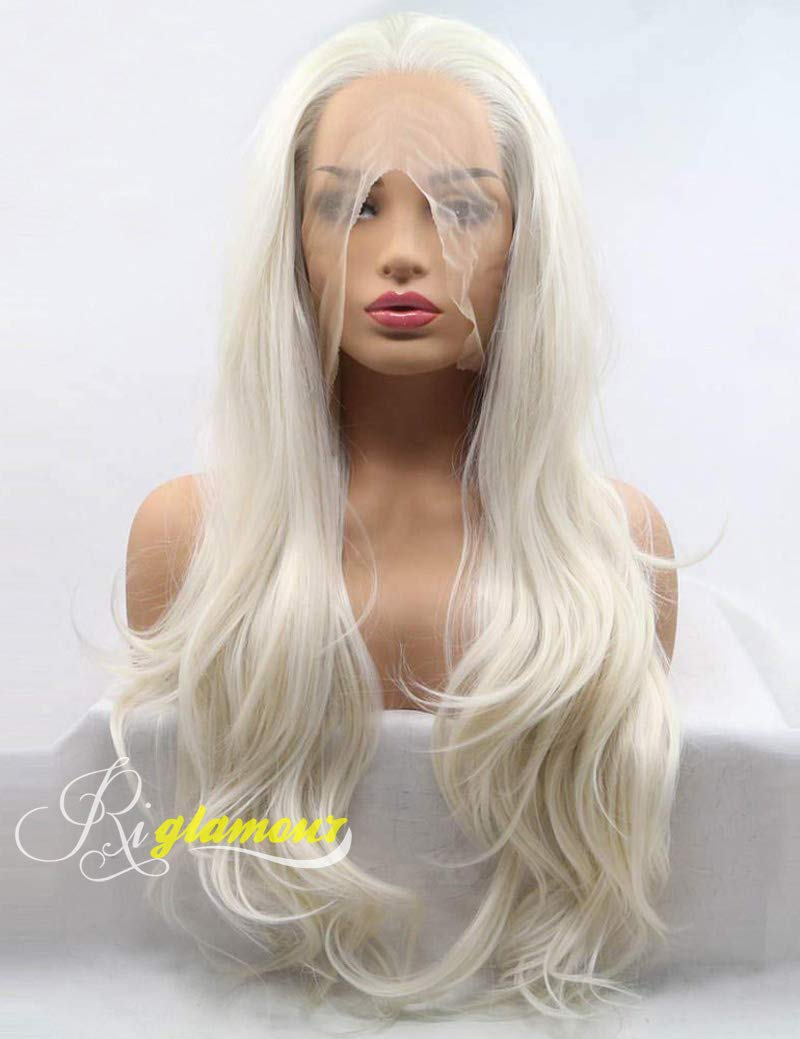 Riglamour Long Natural Wavy Synthetic Lace Front Light Blonde Hair Replacement Wigs for Women Heat Resistant Fiber Hair #60