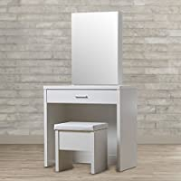 Modern Vanity Set With Mirror And Stool - Perfect Piece Of Furniture For Your Bedroom - Durable Makeup Table Organizer - Available In White or Brown Finish (White)