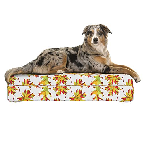 (Lunarable Yellow and Red Dog Bed, Abstract Colorful Foliage Pattern Autumn Season Maple and Ash Tree Leafage, Dog Pillow with High Resilience Visco Foam for Pets, 32