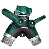 2wayz Premium Full Metal Body garden hose splitter. Cut 15 Minutes of Water Hose dragging Every Day! Arthritis Friendly Soaker Hose y valve. Best Drip Irrigation & Outdoor Utility faucet Adapter. (Lawn & Patio)