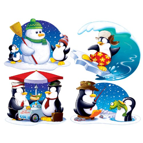 Beistle 4-Pack Penguin Cutouts, 16-Inch - Antarctica Costume For Kids