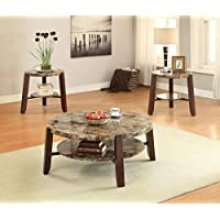 ACME Furniture 81498 Cecil Coffee Table, Walnut & Brushed Nickel