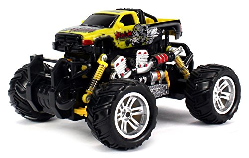 Graffiti Dodge RAM Electric RC Off-Road Monster Truck 1:18 Scale 4 Wheel Drive RTR, Working Hinged Spring Suspension, Perform Various Drifts (Colors May Vary)