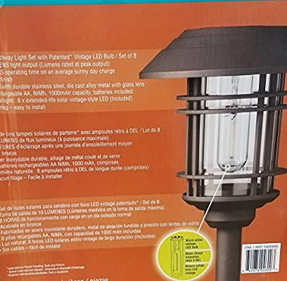 8 Pack GTX Large Vintage Solar Pathway Lights