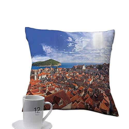 Serra Design Island - Decorative Square Accent Pillow Case European Cityscape Decor Collection,Sunset of Dubrovnik City with The Island Mediterranean Culture Old Town Print Deco,Multi 18