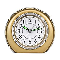 Super Silent Analog Alarm Clock,Non Ticking Analog Alarm Clock with Nightlight Function,Simple to Set Clocks,Super Silent Alarm Clock with Snooze,Battery Powered,Small (golden)