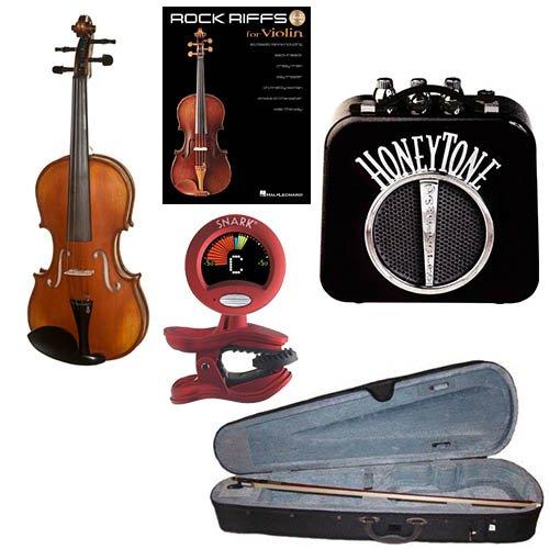 RockStar Violin Pack - Acoustic Violin (3/4 Size) w/Electric Pickup, Mini Amp, Violin Tuner/ Metronome & Rock Riffs Violin Book