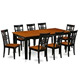 East West Furniture QULG9-BCH-W 9 PC Table Set with One Quincy Dining Table & Eight Dining Room Chairs in Black & Cherry Finish
