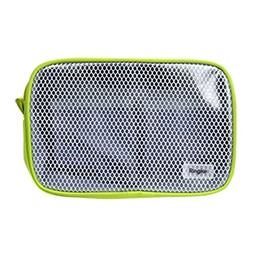 Ringke [Pouch] Travel Organizer Bag Multi-function Travel Portable Pouch, Mesh & Transparent Vinyl Window, Zippered Top, Divided Pockets Tidy Electric Gadgets Accessories Cosmetic Bag - Lime Green (M) Divided Pocket