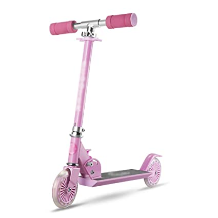 Patinete Scooter Plegable para niños de Color Rosa con PU ...