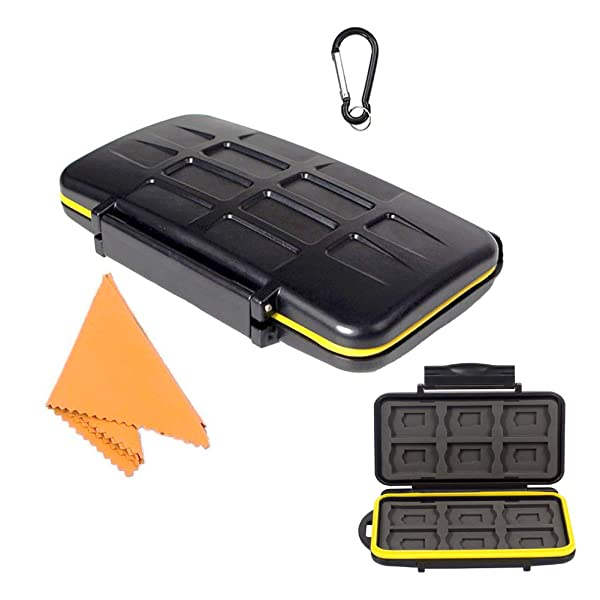 TKDY Memory Card  Holder Case 24 Slots Water-Resistant Shockproof Carrying Protector Storage Box, with Carabiner for 12 Pcs SD SDHC SDXC and 12 Micro SD Cards. (Color: 12SD +12 Micro SD (Black), Tamaño: 12SD +12 MIRCO SD)