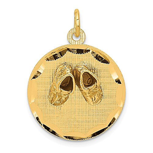 14k Yellow Gold Small Solid Engravable Baby Shoes On Disc Pendant Charm Necklace Fine Jewelry Gifts For Women For Her 14k Gold Sandal Pendant
