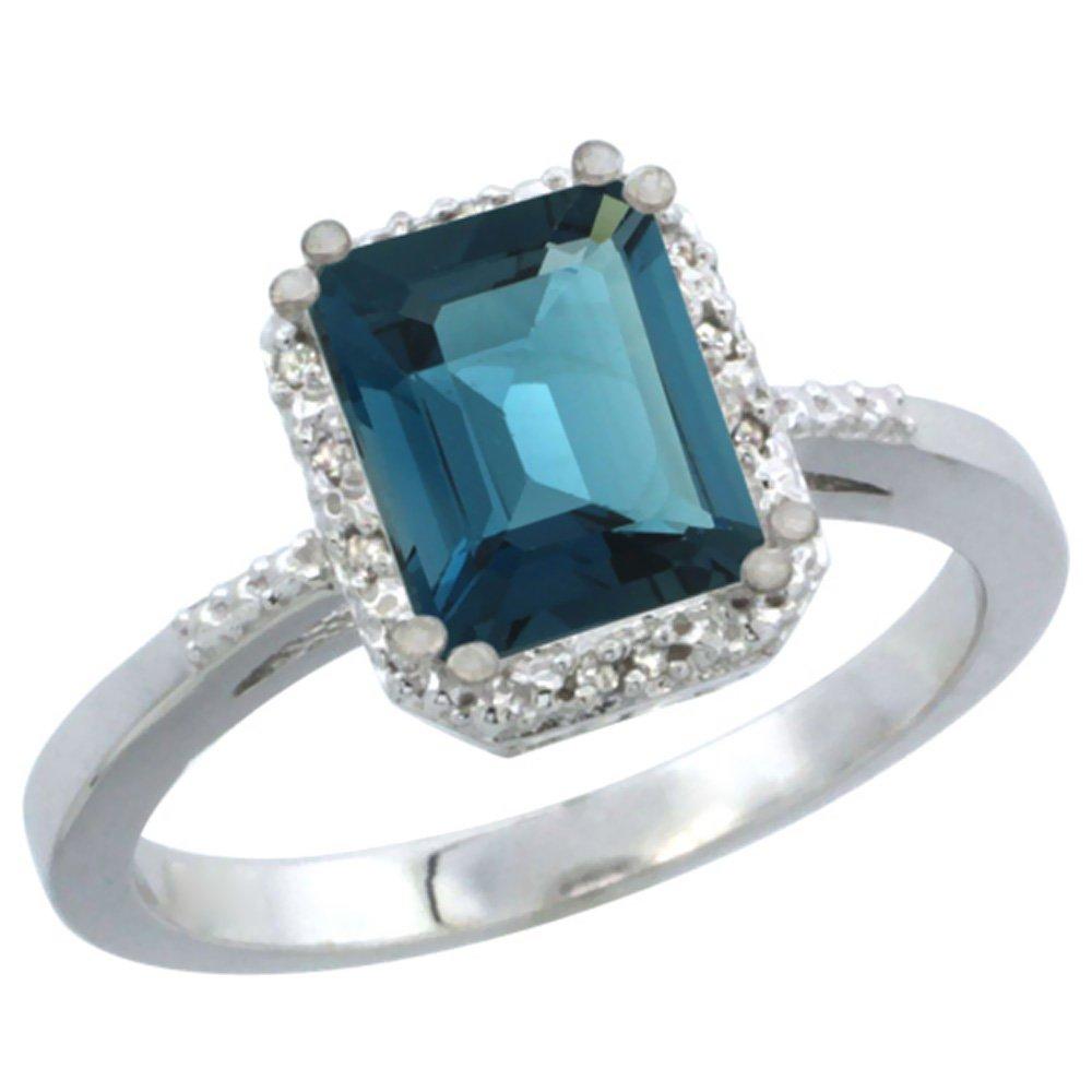 10K White Gold Natural London Blue Topaz Ring Emerald-shape 8x6mm Diamond Accent, size 5.5