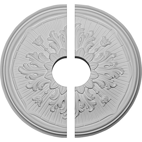 "Ekena Millwork CM16LU2-03500 15 3/4"" OD ID x 5/8"" P Luton Ceiling Medallion, Two Piece (Fits Canopies up to 3 1/2""), Factory Primed White"