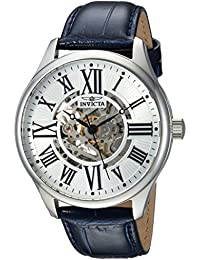 Men's 'Vintage' Automatic Stainless Steel and Leather Casual Watch, Color:Blue (Model: 23634)