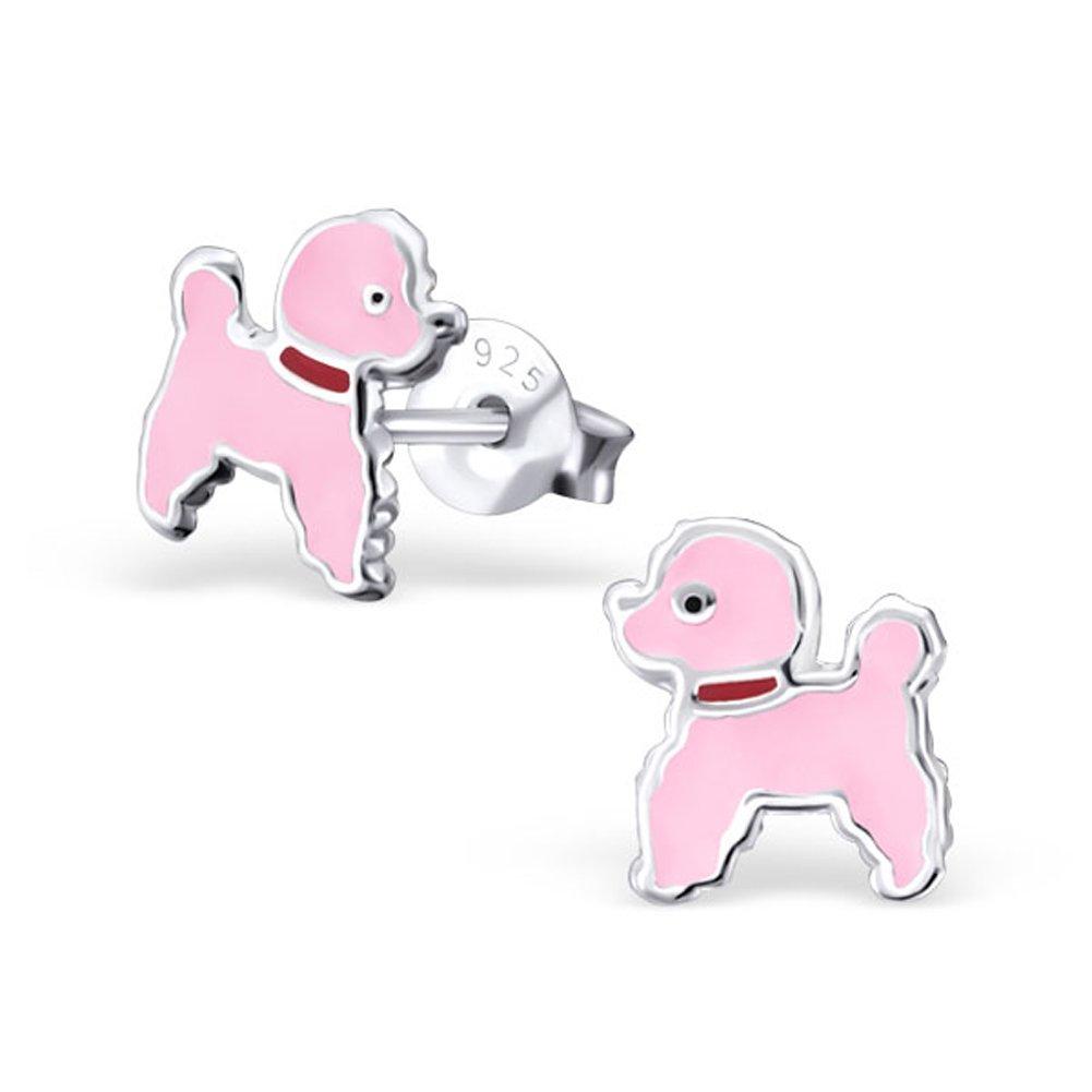 Pink Poodle Dog Earrings Small 925 Sterling Silver Children's Earrings (E22222)