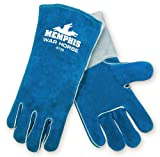 MCR Safety 4730 Warhorse Split Cow Leather Premium Deluxe Welder Gloves with Foam Lined and Wing Thumb, Blue, Large, 1-Pair