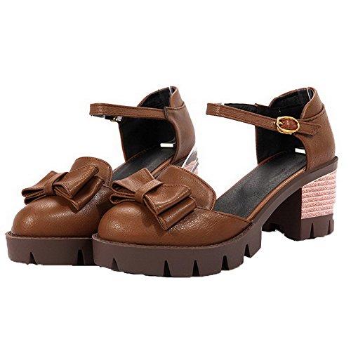 Fibbia Donna Luccichio Marrone GMMLA007954 Tacco AgooLar Tonda Sandali Medio Punta R5CUfwqx
