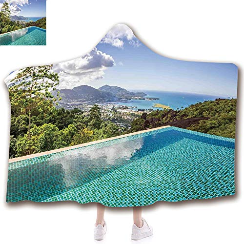 - scocici Fashion Blanket Ancient China Decorations Blanket Wearable Hooded Blanket,Unisex Swaddle Blankets for Babies Newborn by,Islands Seychelles from Crystal Clean Pool,Adult Style Children Style