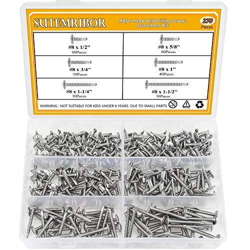 Sutemribor 410 Stainless Steel Self Drilling Screws Set (#8 Wafer Head) by Sutemribor (Image #6)