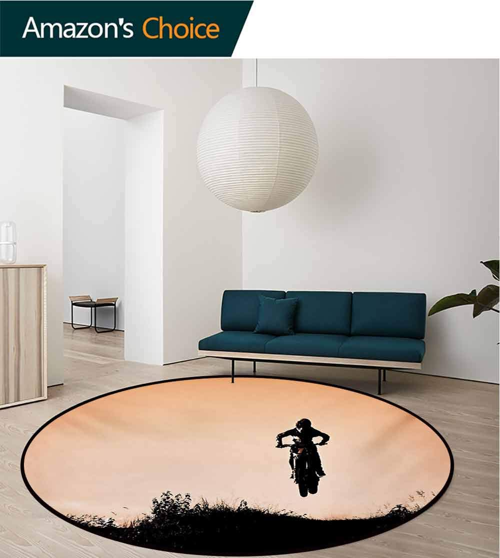 Teen Room Modern Machine Washable Round Bath Mat,Motorcycle Jumping Over The Hills Horizon Sports Hobby Scenery Non-Slip Living Room Soft Floor Mat,Diameter-59 Inch Salmon Vermilion Seal Brown