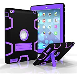 iPad 2/3/4 Case, Fisel Three Layer PC & Silicon High Impact Hybrid Drop Proof Armour Defensive Full Body Protective Case With Kickstand for iPad iPad 2/3/4 Generation