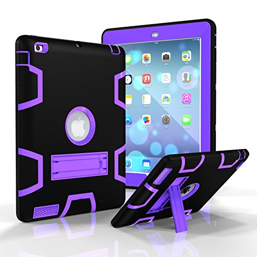 iPad 3 Case, iPad 4 Case, iPad 2 Case, Jeccy Dual layer Rugged Slim Full-body Shock Proof Hybrid Heavy Duty Armor Defender Protective Case with Kickstand for Apple iPad 2/3/4 (Black-Purple)