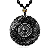 MOHICO Dragon Obsidian Pendant Necklace, Dragon and Phoenix Natural Obsidian Crystal Pendant Necklace Pattern with extend Bead Chain for Men or Women, Black Elegant Round Reviews