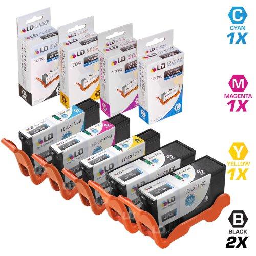 Compatible Lexmark 100XL Set of 5 HY Ink Cartridges: 2 Black